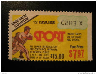 BASEBALL Beisbol Review News Magazine Coupon Discount Poster Stamp Label Vignett