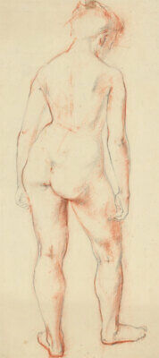 Anne Roger - Mid 20th Century Sanguine, Study of a Standing Female Figure