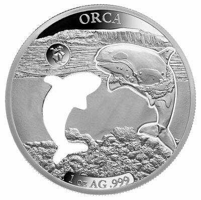 2020 Barbados Shapes America Cut-Out HR 1 oz Proof-Like Silver $5 Orca SKU59243