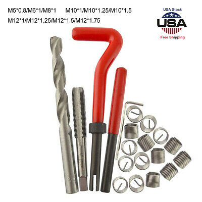 Metric Thread Repair Insert Kit M5 M6 M8 M10 M12 x 1.75 Helicoil Shank Plug Tool