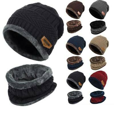 Kids Boys Girls Fleece Knitted Hat Circle Scarf Set Warm Crochet Beanie Caps