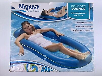 Pool Floats For Adults Inflatable Recliner Canopy Water Lounge Raft Cup Holder