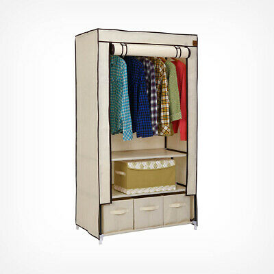 Large Canvas Effect Wardrobe With Shelve Storage Drawers Bedroom Furniture 🚚💨