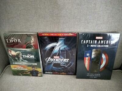 10 Marvel DVD Lot - Avengers 1-4 Movie Collection, Captain America, Thor Trilogy