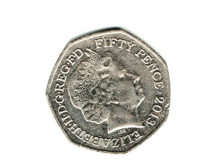 GB 2013 FIFTY PENCE COIN Queen Elizabeth II good circulated