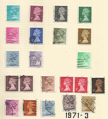 GB GREAT BRITAIN; 1971-3 first decimal issue; 20 values used