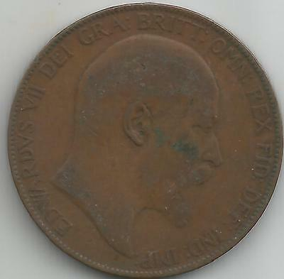 GB 1907 Edward VII Bronze One Penny  coin good definition