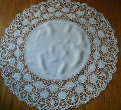 Old antique Tablecloth round shape trimed with large border lace Engllish