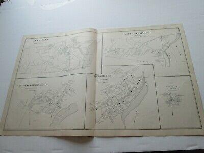 1892 New Hampshire Antique Map, Newmarket, Newcastle, Nottingham, Windham, Plus