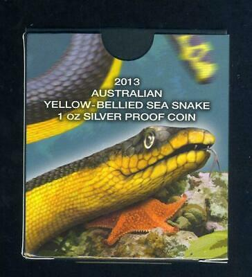 2013 Tuvalu Coloured 1oz Silver Proof Coin - Yellow Bellied Sea Snake