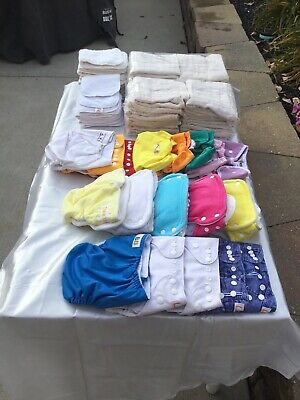 Lot of 18 Cloth Diaper Covers, 14 Pads, 24 Unbleached Diapers, & 6 Fasteners