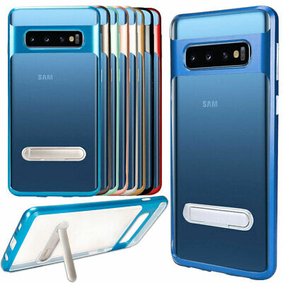 For Samsung Galaxy S8 S9 S10 Plus Matte Clear Hard Plastic Kickstand Case Cover