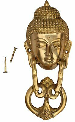 Buddha Door Knocker in Brass Hand-Craft Gold Solid and Heavy Antique Home Decor