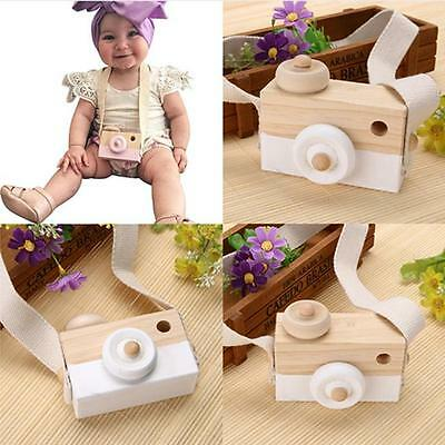 Baby Children Birthday  Mini Wooden Camera Toys Safe Natural Xmas Gift SU