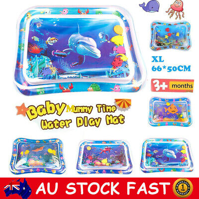 Inflatable Baby Water Play Mat Pad For Infants Toddlers Fun Tummy Time Sea World