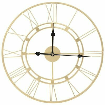 60CM Extra Large Roman Numeral Wall Clock Indoor Outdoor Garden Metal Frame - UK