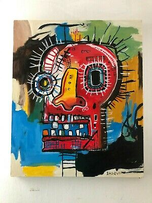 Jean Michel Basquiat Oil Painting On Canvas Signed Sealed 19.7 X 23.5''