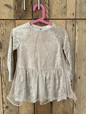 Zara Girl Age 2-3 Beige Velour With Pink Spots & Chiffon Overlay Party Dress