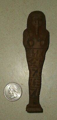 "NR 4.75"" Tall Egyptian Ushabti,BC Amulet Ancient Faience From Egypt w Glyphs #60"