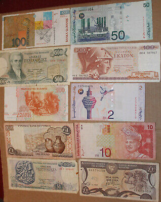 10 used world wide banknotes mostly obsolete  - lot b