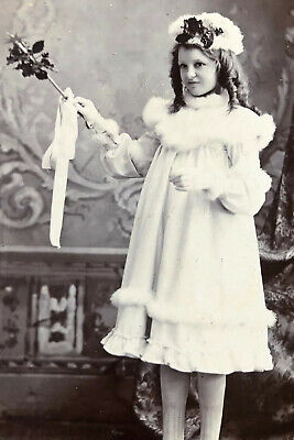 Antique Cabinet Card  Photograph Holly Wand Winter Fairy Sausage Curls