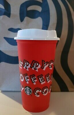 Starbucks 2019 Red Reusable Grande 16oz Cup MERRY COFFEE Christmas