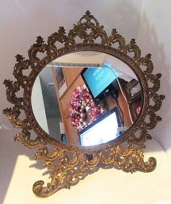 Brass Finish Cast Iron Tabletop Stand-Up Frame With Mirror