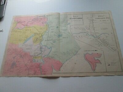 1892 New Hampshire Antique Map, Concord, W. Concord P. O., Merrimack County ++
