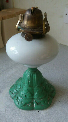 Antique Victorian Cast Iron & Opaque Glass Oil Lamp - Stamped Y Pl 337