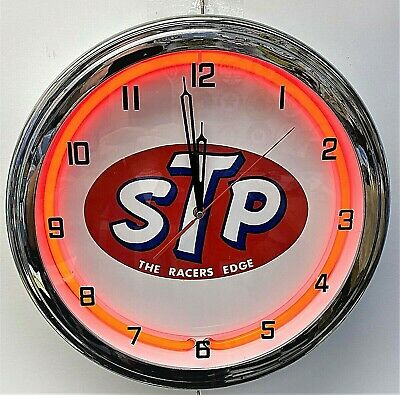 """16"""" STP Oil Treatment The Racers Edge Sign Red Neon Wall Clock Garage Man Cave"""