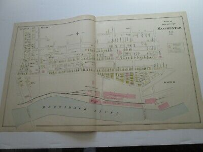 1892 NEW HAMPSHIRE ANTIQUE MAP, CITY of MANCHESTER WARDS 8 AND 9, NEW BOSTON, ++