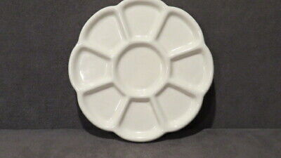 Vintage 9-Well White Porcelain Ceramic Paint Mixing Palette