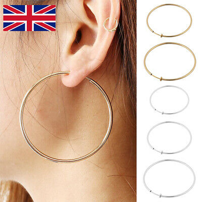 Non-Pierced Spring Ear Clips Hoop Clip-On Fake Large Earrings Rings Goth Punk