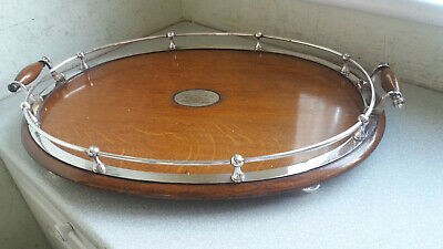 Stunning Antique Mappin & Webb Oak & Silver Plated Gallery Serving Tray 1895