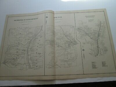 1892 New Hampshire Antique Map, Merrimack, Litchfield, Wilton, Peterborough ++