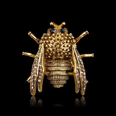 Unisex Vintage Crystal Bee Insects Brooches Pins Charm Jewellery Banquet Gift