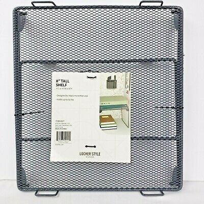 Locker Style 8 inch Black Folding Storage Metal Wire Mesh Stackable School Shelf