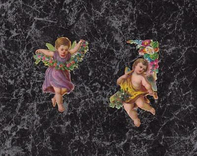 Lot 2 Extra Small Victorian Die Cut Scraps of Fairy & Cherub about 1.75 x 1""
