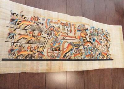"Huge Signed Handmade Papyrus Egyptian_KING RAMSES II_Art Painting 32""x12"" Inches"