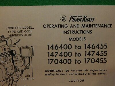 1966 Briggs & Stratton Engine Operating & Maint. Instructions 146400, 170400, +