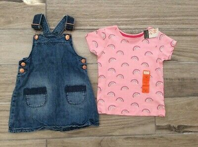 Girls Denim Dress & T Shirt Age 2 Years Inc New With Tags