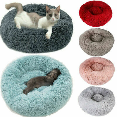 Comfy Calming Dog Cat Bed Round Warm Soft Plush Pet Bed Marshmallow Bed 40-80cm