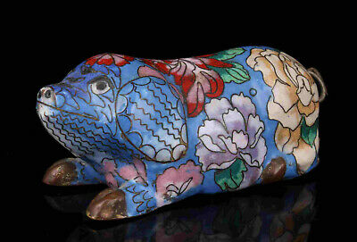 China Old Collectible Hand Painting Copper Foetus Cloisonne Pig Statue Gift