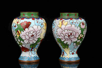 China Old Collectible Hand Engraving Painting Red Copper Cloisonne Vase Gift