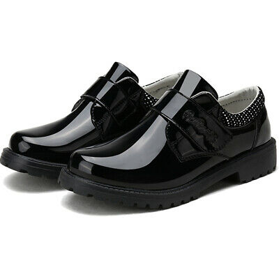 Kids Boys School Shoes Black Faux Leather Walking Trainers Casual Formal Size