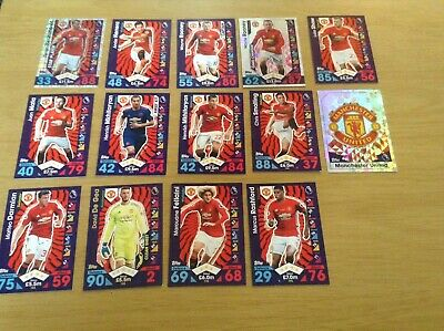 14 Manchester United fc 2016-17 season topps match attax cards.