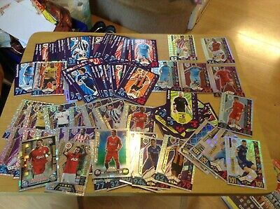 About 106 various 2016-17 season topps match attax cards.