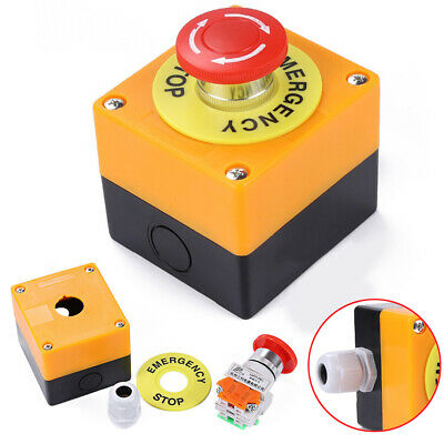 Red Sign Mushroom Emergency Stop Switch Push Button 1 NO 1 NC 10A 660V Button