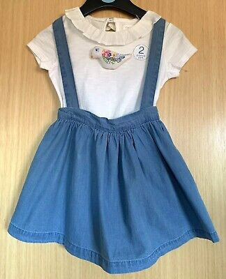Next Girls Outfit Age 2 3 Pinafore Skirt T Shirt Top Summer New Tags £16 Bird