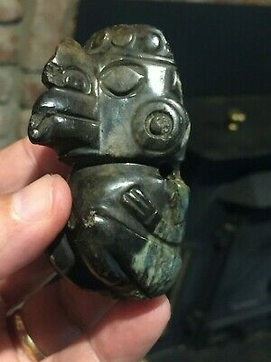 Antique Pre Columbian Jade Shaman Avian Pendant 500-1200 AD Authenticated